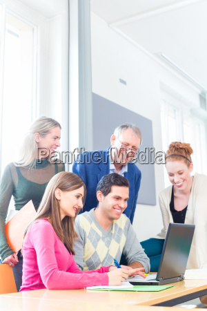 students at university group work