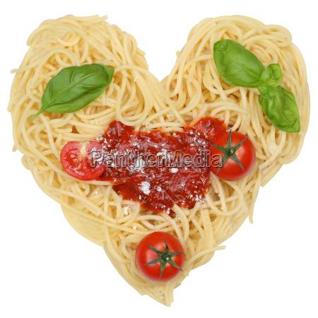 spaghetti, nudeln, pasta, als, herz, freigestellt - 12866480