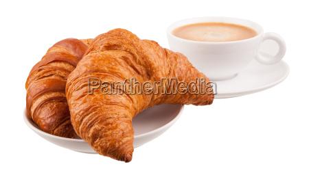 zwei croissants mit kaffee