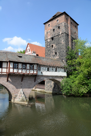 henkersteg with water tower in nuremberg