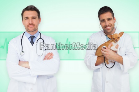 composite image of happy doctor and
