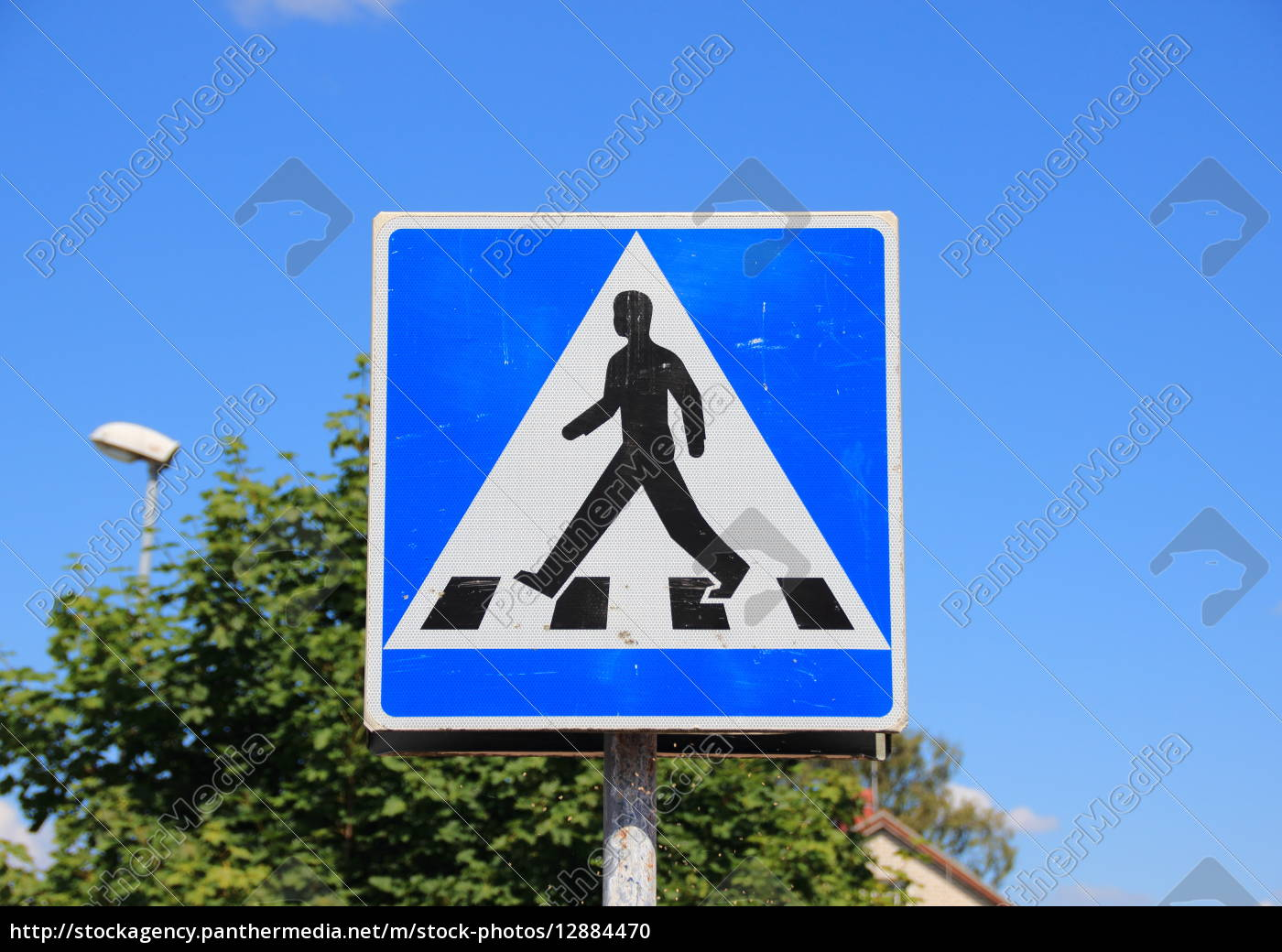 pedestrian, sign, with, blue, sky, and - 12884470
