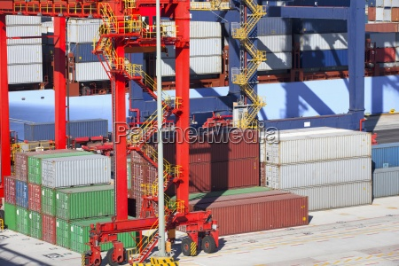 cranes container ship and cargo containers