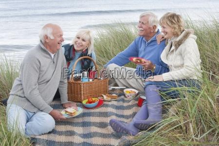 gruppe aeltere freunde geniessen picknick in