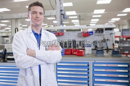 portrait of smiling scientist in hi