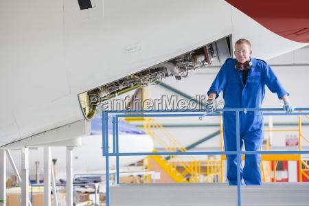 portrait of engineer on platform near