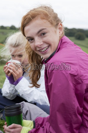 close up portrait of smiling girls