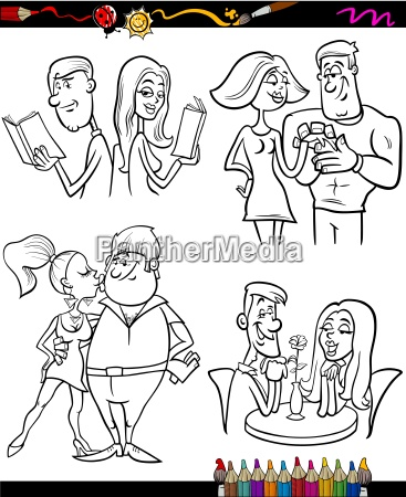 couples set cartoon coloring page