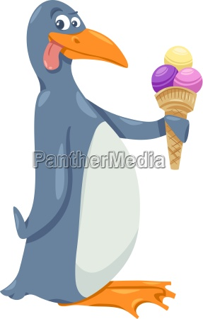 penguin with ice cream cartoon