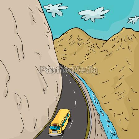 schulbus in den bergen