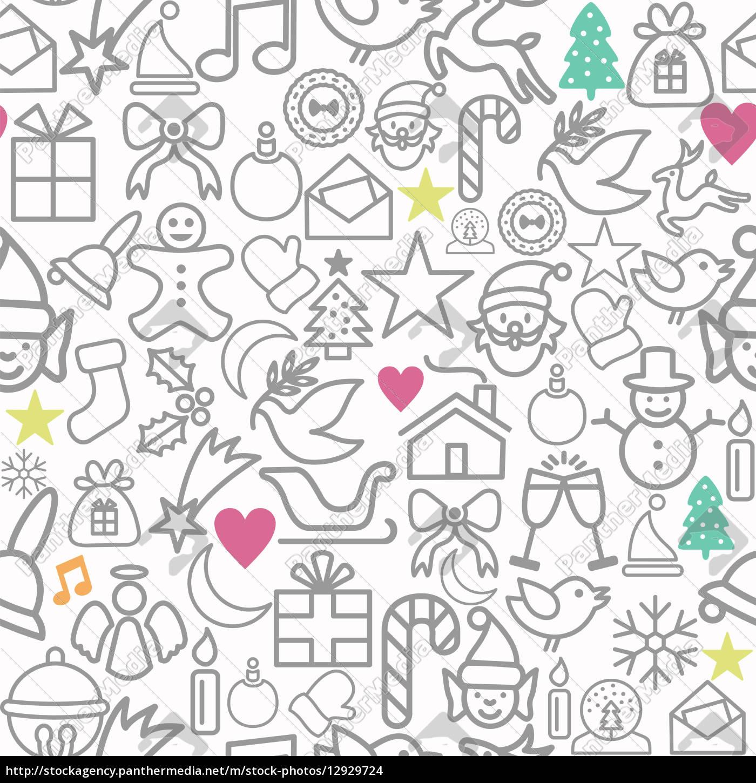 Geschenkpapier Weihnachten.Lizenzfreies Foto 12929724 Frohe Weihnachten Geschenkpapier Muster Kontur Ikonen