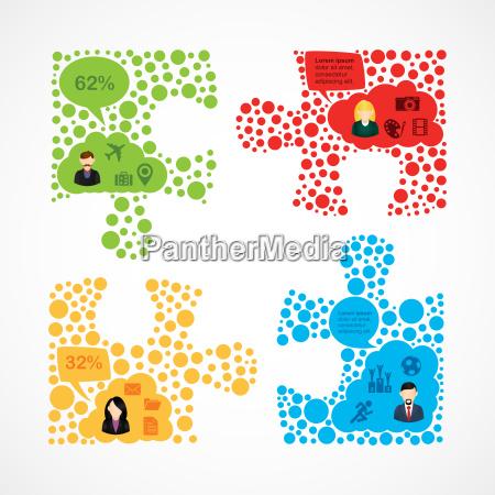 social media teamarbeit puzzle infografik