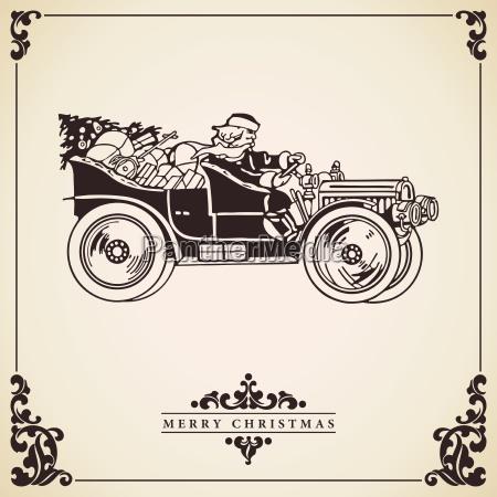 weihnachtsmann autofahren weihnachtskarte