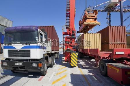 crane loading cargo container onto lorry