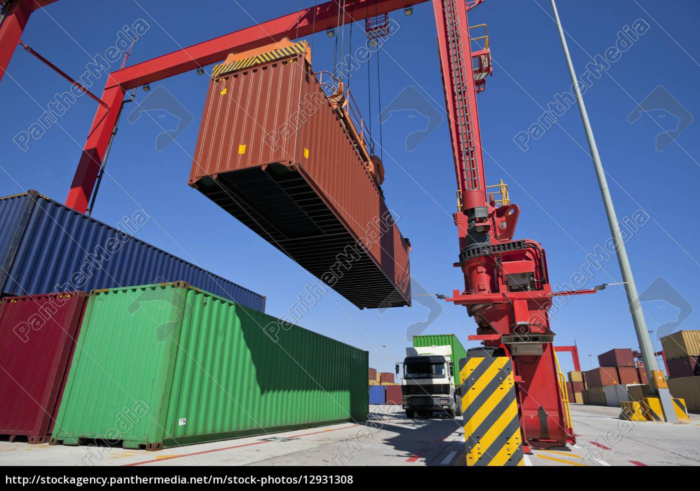 kranfrachtcontainer, am, dock - 12931308