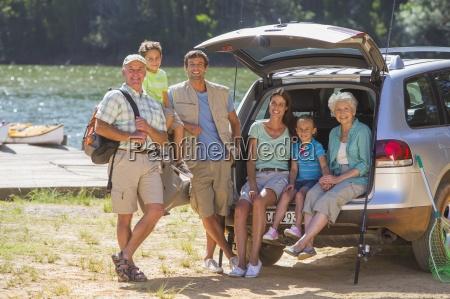 portrait of smiling multi generation family