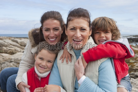 portrait of family with grandmother exploring