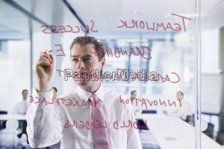 businessman writing on glass window in