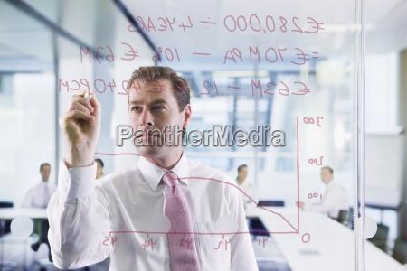 businessman drawing graph on glass window