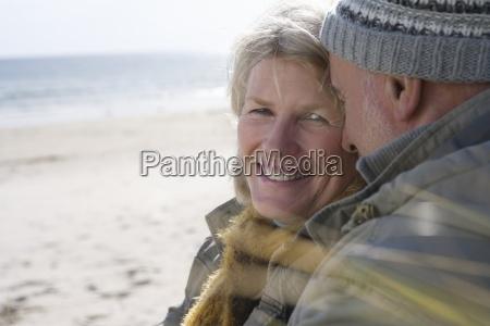 senior couple on beach portrait of