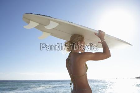 young woman in bikini standing on