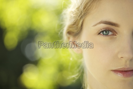 close up of young woman outdoors