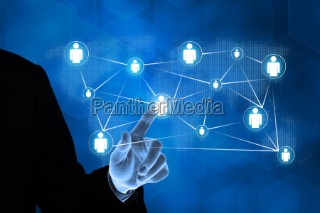 business hand pushing people global connection