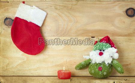 christmas decoration with santa claus figurine