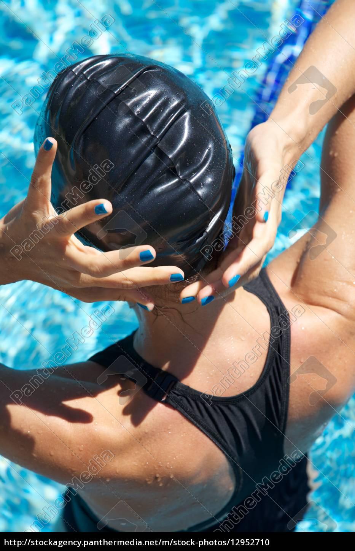 blau, nägel, polieren, schwimmer, platzierung, kappe - 12952710
