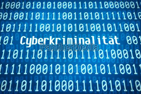 binaercode mit dem wort cyberkriminalitaet