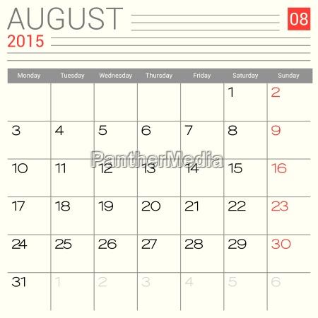 august 2015 kalender