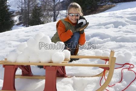 maedchen 7 9 machen schneeball stapel