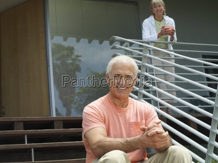 senior couple relaxing at home woman