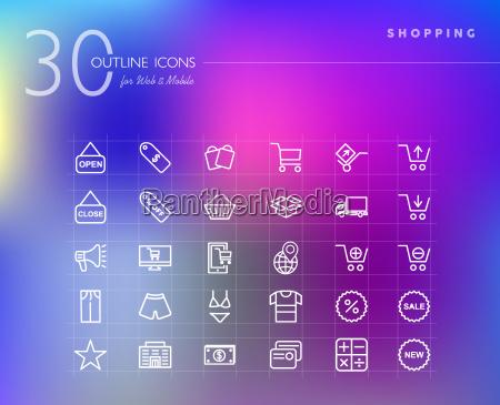 einkaufen einzelhandel umriss icons set