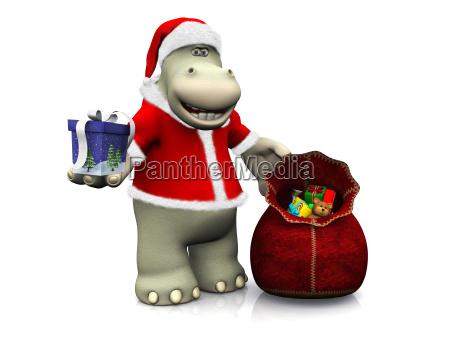 karikaturflusspferd verteilen weihnachtsgeschenke