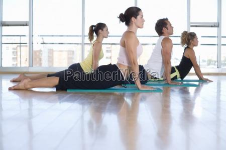 yoga students in cobra position in