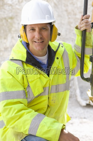 close up of construction worker wearing