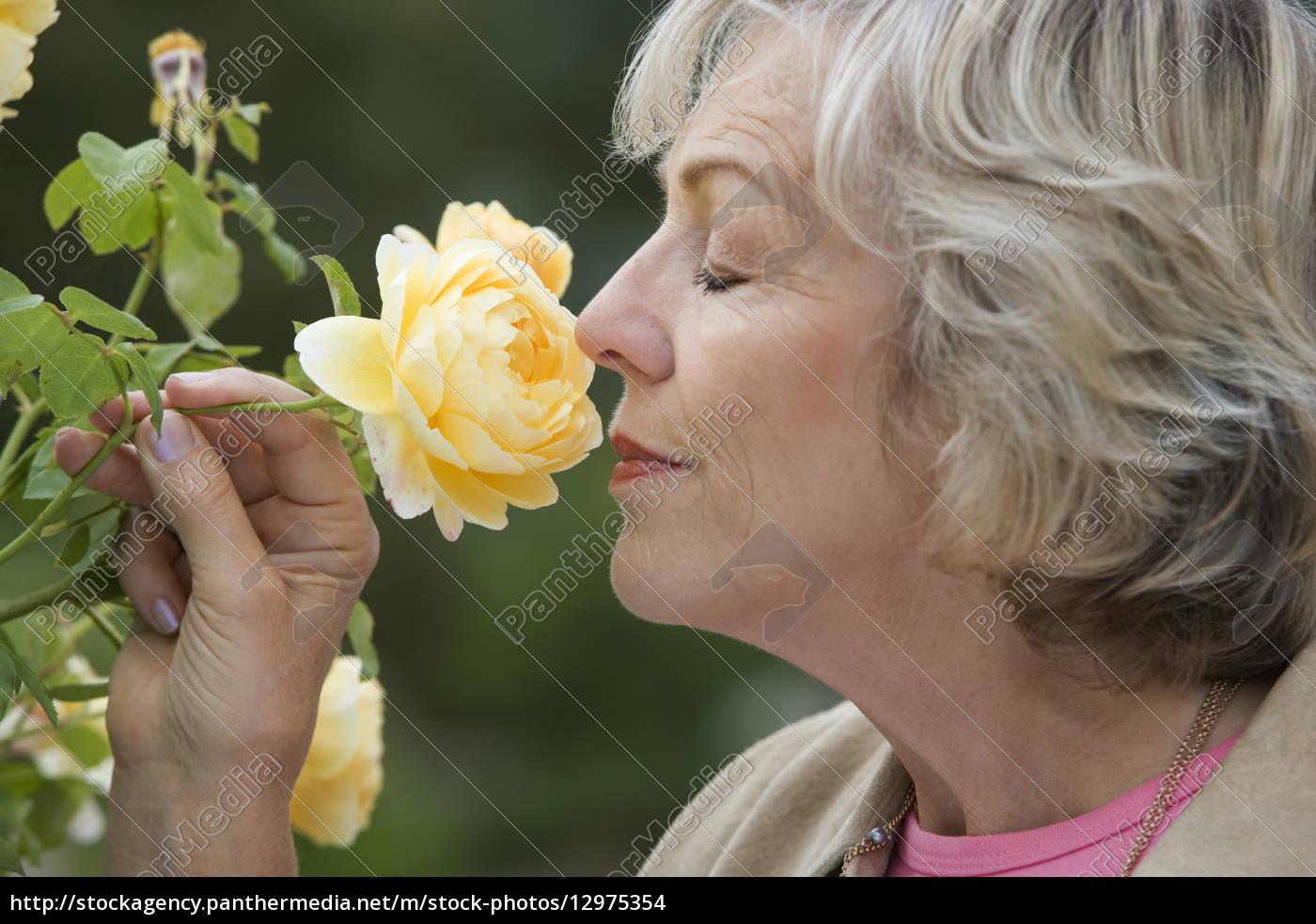 ältere, frau, riecht, gelbe, blume, die, augen - 12975354