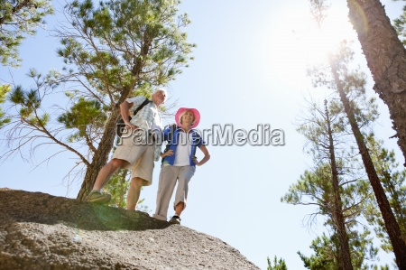 low angle view of older couple