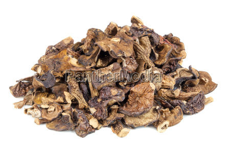 heap of dried mushrooms on a