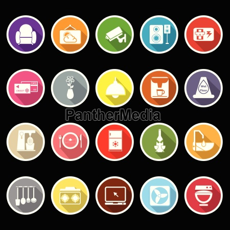 cafe and restaurant flat icons with