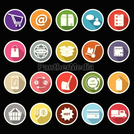 ecommerce icons with long shadow