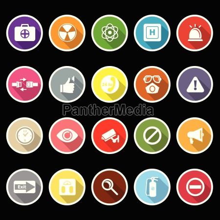 general health care icons with long
