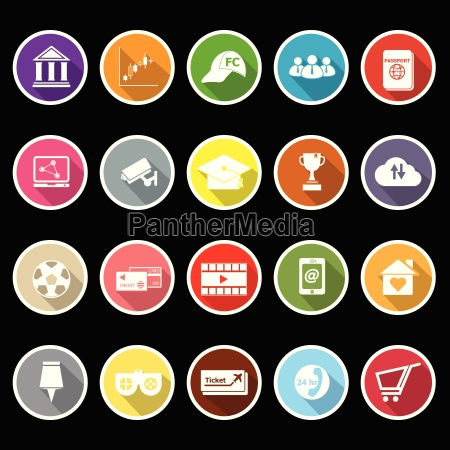 general online flat icons with long