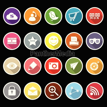 internet useful flat icons with long
