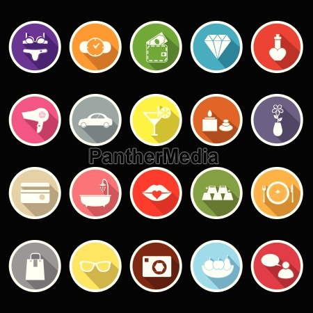 lady related item flat icons with