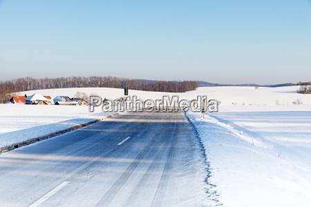 snowy road on the swabian alb