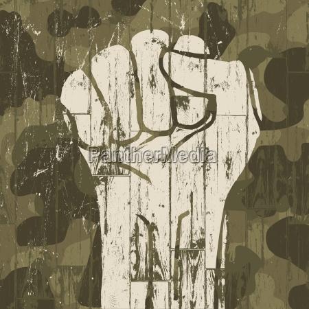 fist symbol revolution on military camouflage