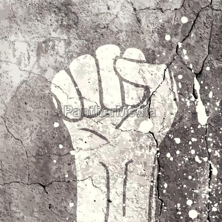 grunge fist illustration on concrete texture