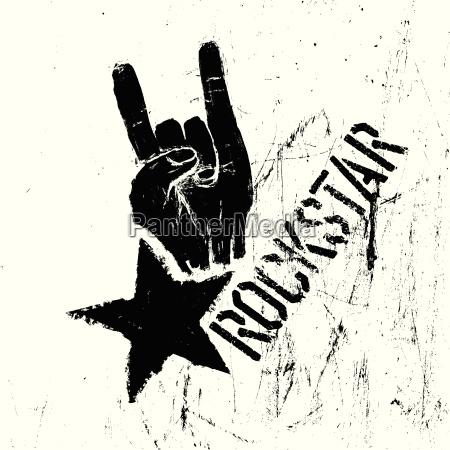 rockstar symbol mit zeichen der hoernergeste